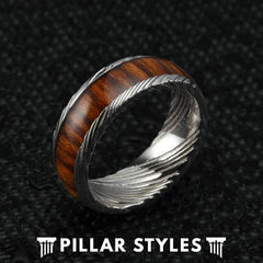 Silver Damascus Steel Ring with Koa Wood Inlay Mens Wedding Band
