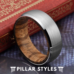 Mens Wedding Band Zebra Wood Ring 8mm Silver Tungsten Wedding Band