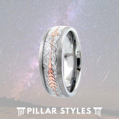 Tungsten Meteorite Ring with Rose Gold Arrow