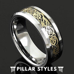Tungsten Viking Ring Mens Wedding Band Gold Celtic Wedding Rings