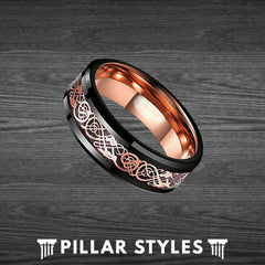 Viking Ring Mens Wedding Band Rose Gold Ring