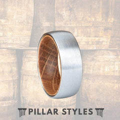 Whiskey Barrel Wood Ring Silver Tungsten Wedding Band