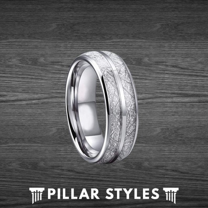 8mm & 6mm Meteorite Ring Couples Ring Set Wedding Bands - Pillar Styles