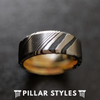 Damascus Stainless Steel Band Mens Black Damascus Ring - Pillar Styles