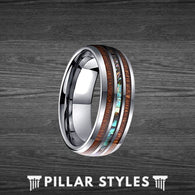 Koa Wood Ring Men with Abalone Inlay Titanium Mens Wedding Band - Pillar Styles