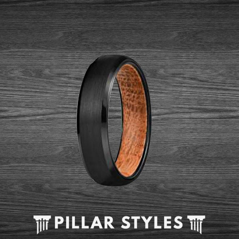 Black Mens Wedding Band Whiskey Barrel Ring 6mm Tungsten Ring Wood Wedding Band Mens Ring - Pillar Styles