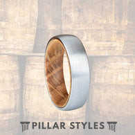 6mm Whiskey Barrel Ring - Silver Tungsten Wedding Band Mens Wood Ring - Pillar Styles
