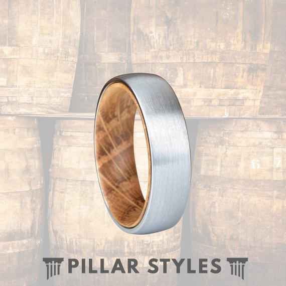 6mm Whiskey Barrel Ring - Silver Tungsten Wedding Band Mens Wood Ring