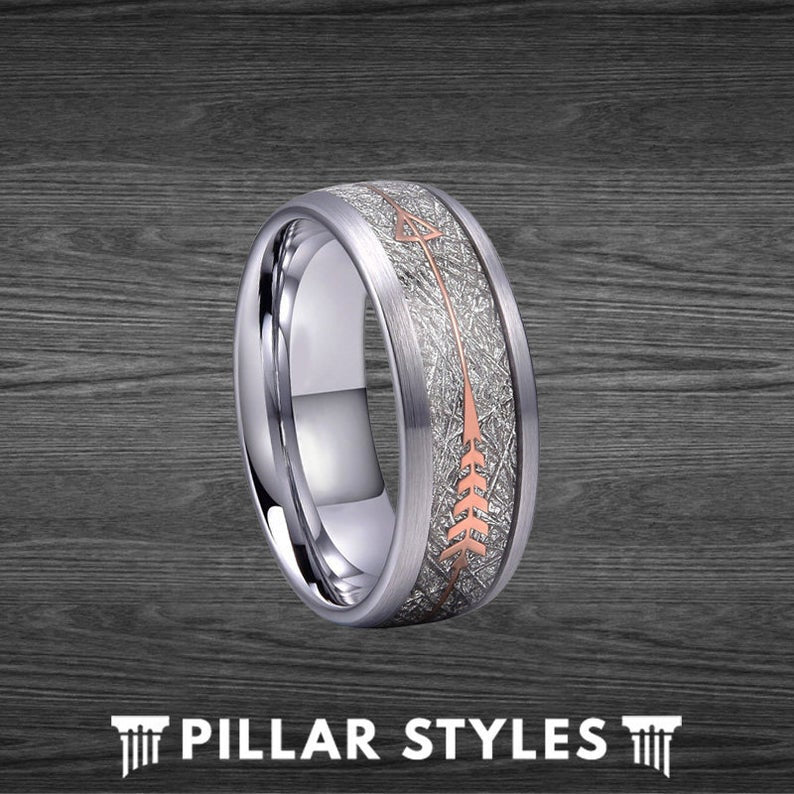 Tungsten Meteorite Ring with Rose Gold Arrow Ring