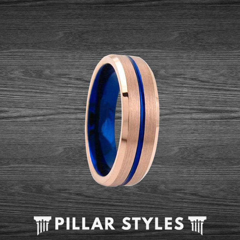 Rose Gold Tungsten Ring with Thin Blue Line Groove
