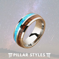 Tungsten Wedding Band Mens Opal & Koa Wood Ring - Pillar Styles