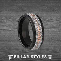 Black Meteorite Wedding Band with Rose Gold Arrow - Pillar Styles