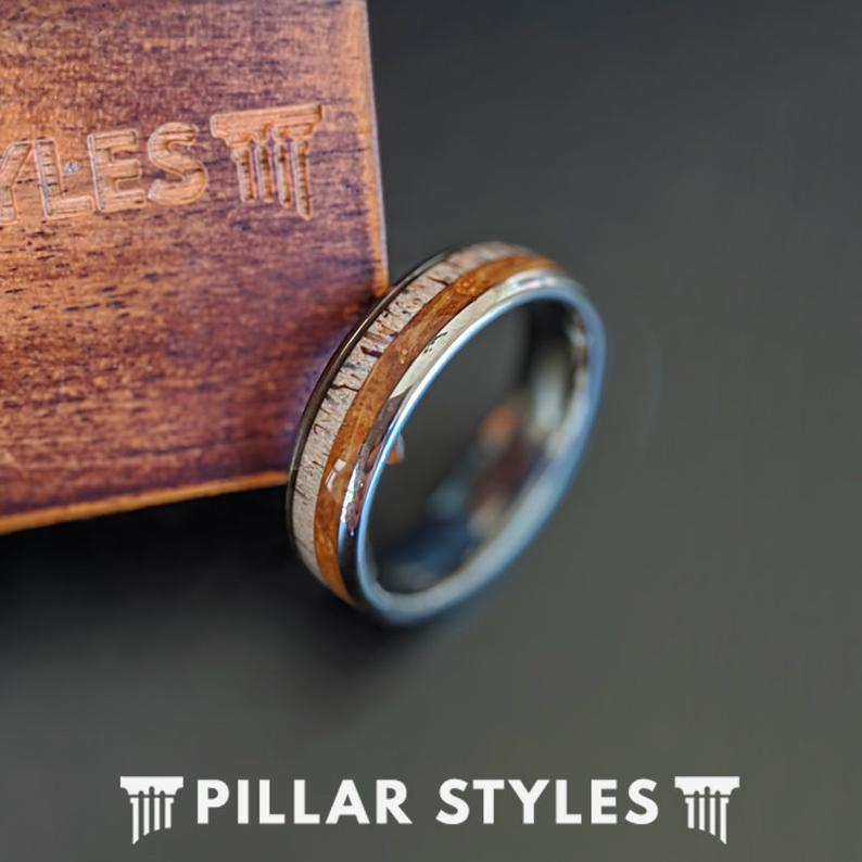 Antler & Whiskey Barrel Ring Mens Wedding Band Nature Ring 6mm Unique Wood Ring for Men - Pillar Styles