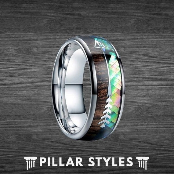 8mm Abalone Tungsten Wedding Band Wood Ring with Arrow Inlay - Pillar Styles