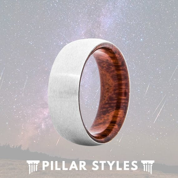 Satin Silver Titanium Ring Mens Wedding Band with Koa Wood Inlay