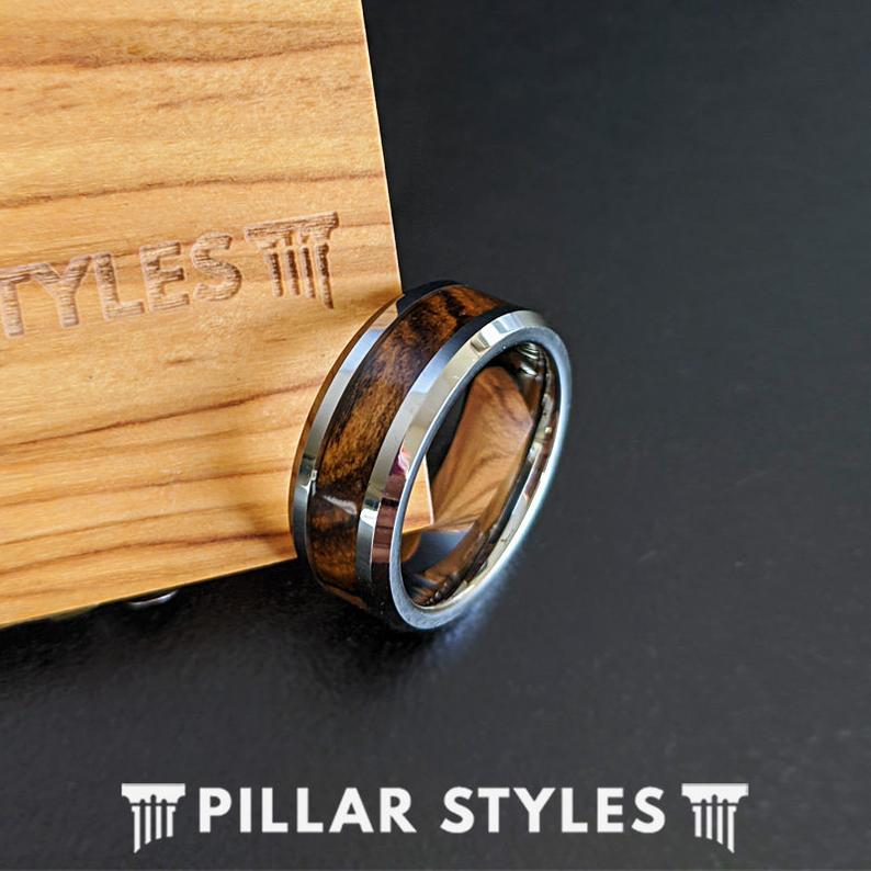 Exotic Bocote Wood Ring Mens Wedding Band Beveled Tungsten Ring Silver Wooden Ring for Men