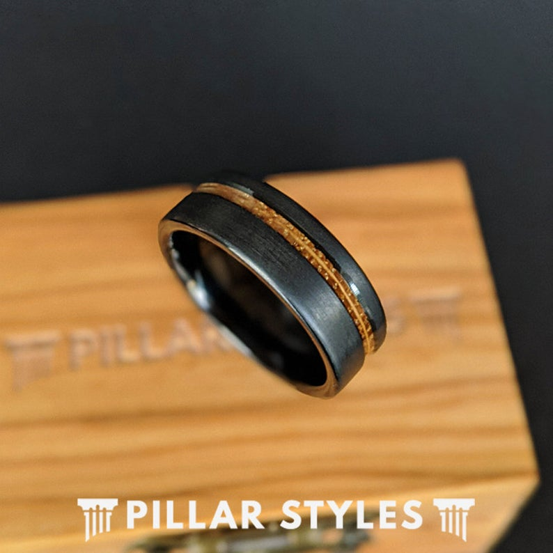 Black Whiskey Barrel Ring Mens Wedding Band Tungsten Ring Offset Inlay - Pillar Styles