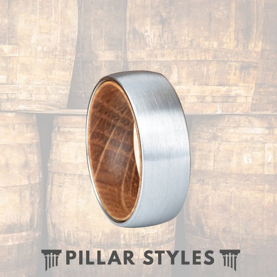 Whiskey Barrel Wood Ring Silver Tungsten Wedding Band - Pillar Styles