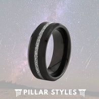 Tungsten  Black Meteorite Jewelry Wedding Ring - Pillar Styles