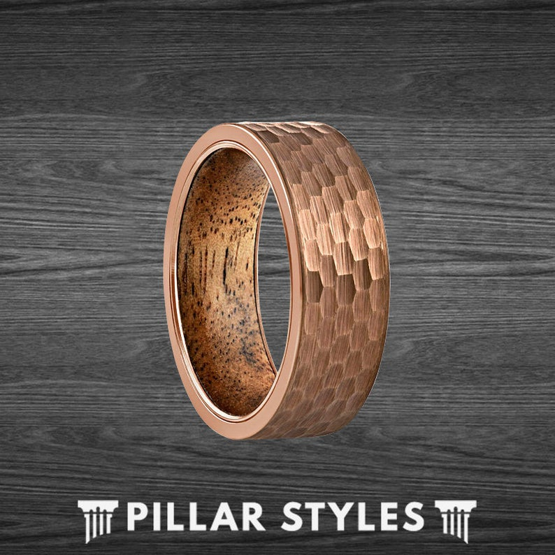 Koa Wood Hammered Ring Mens Wedding Band Espresso Brown Tungsten Ring Wooden Ring - Pillar Styles