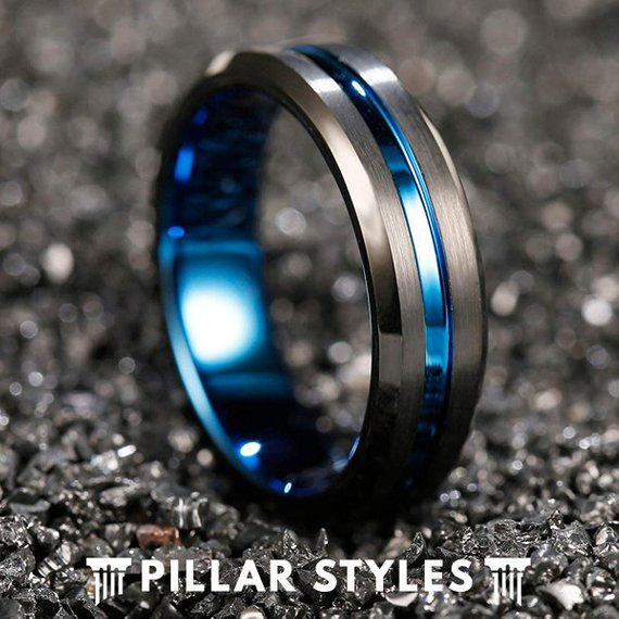 6mm Black Tungsten Wedding Band Mens Ring Blue Groove - Pillar Styles
