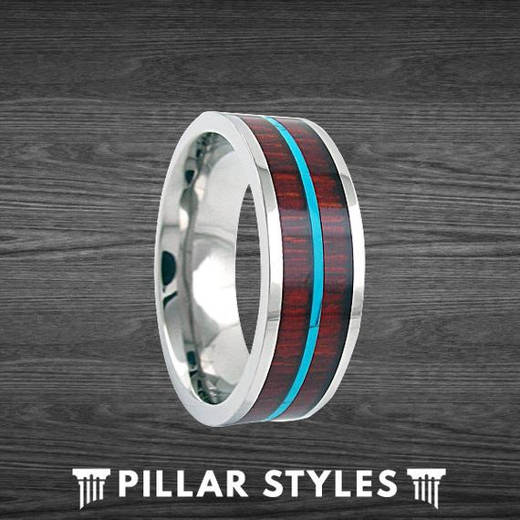 Silver Titanium Wedding Band Hawaiian Koa Wood Inlay with Turquoise Band - Pillar Styles