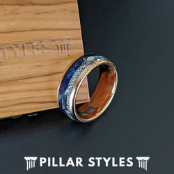 18K Rose Gold Lapis Lazuli Ring Arrow Meteorite Ring Mens Wedding Band Tungsten Ring - Pillar Styles
