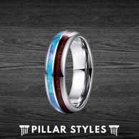 6mm Koa Wood and Blue Fire Opal Tungsten Wedding Bands - Pillar Styles