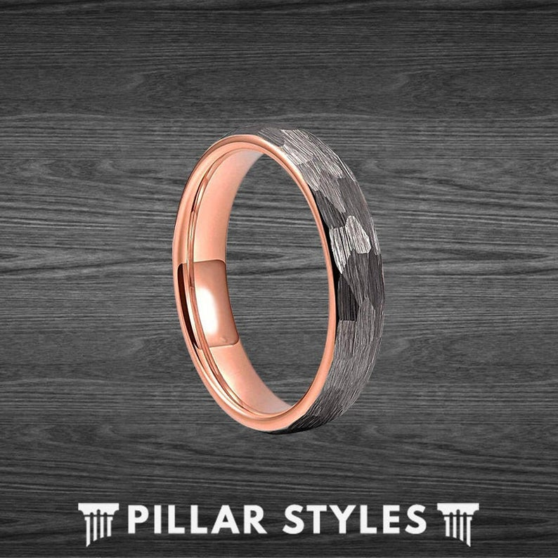 4mm Silver Hammered Ring Tungsten Wedding Bands Women Thin Rose Gold Ring - Pillar Styles