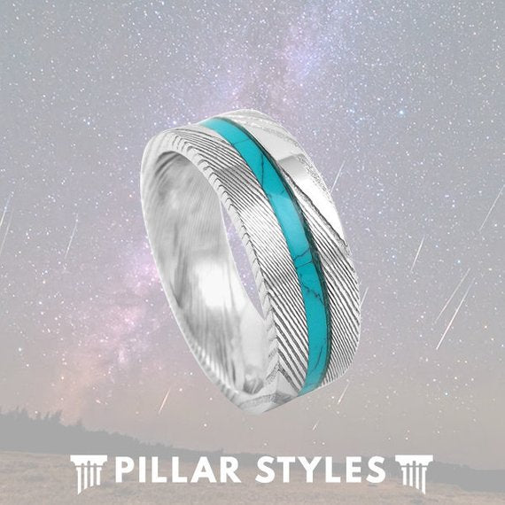 8mm Damascus Steel Ring Turquoise Inlay