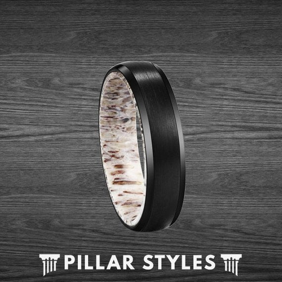 6mm Deer Antler Ring Beveled Black Tungsten Ring - Pillar Styles