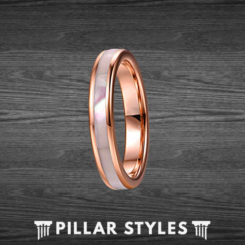 Thin Rose Gold Ring Womens Wedding Band Tungsten Ring - Pillar Styles