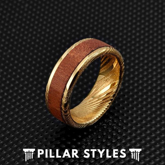 Gold Damascus Steel Ring Bubinga Wood Ring - Pillar Styles