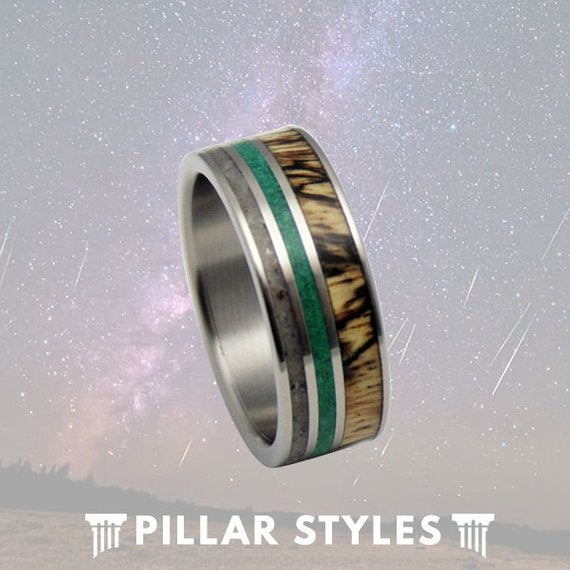 Mens Wedding Band Titanium Ring with Tamarind, Malachite, & Antler Inlays - Pillar Styles