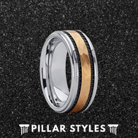 8mm Tungsten Ring with Hammered Gold Inlay - Pillar Styles