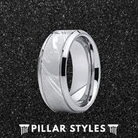 9mm Silver Damascus Ring Mens Wedding Band - Pillar Styles