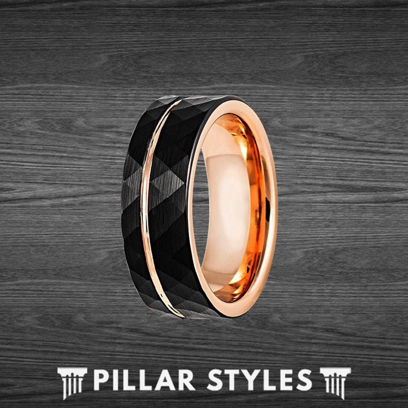 Black Hammered Ring Mens Wedding Band 18K Rose Gold Ring with Offset Inlay Tungsten Ring - Pillar Styles