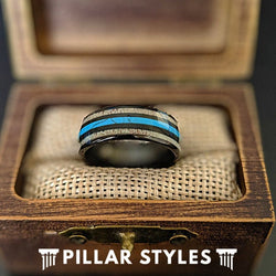 Mens Turquoise Ring Black Tungsten Wedding Band Mens Ring, 8mm Deer Antler Ring with Turquoise Inlay - Pillar Styles