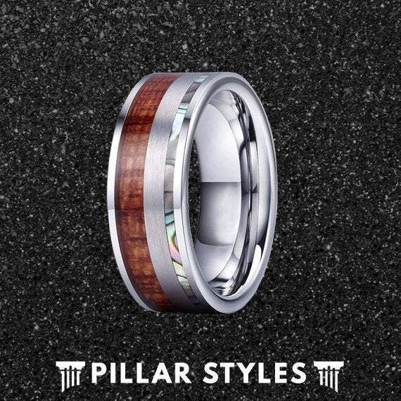 Tungsten Ring Koa Wood & Abalone Shell Inlay - Pillar Styles