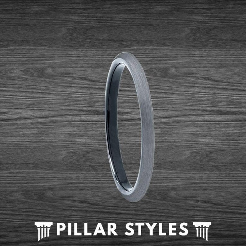 2mm Black & Gunmetal Gray Tungsten Ring Thin Wedding Bands - Pillar Styles