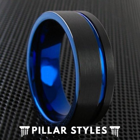 Thin Blue Line Ring and Black Ring Blue Groove Tungsten Men's Wedding Band - Pillar Styles