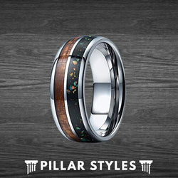 Mixed Black Opal with Koa Wood Mens Wedding Band - Pillar Styles