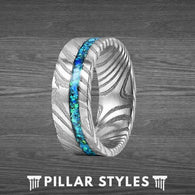 Mens Wedding Band Damascus Ring with Blue Opal Ring - Pillar Styles