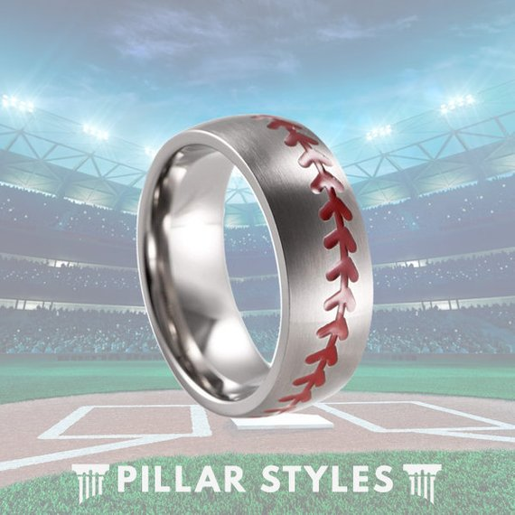 8mm Titanium Baseball Ring Mens Wedding Band with Red Stitching - Pillar Styles