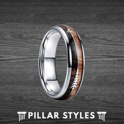6mm & 8mm Dual Koa Wood Ring and Zebra Wood with Arrow Inlay - Pillar Styles