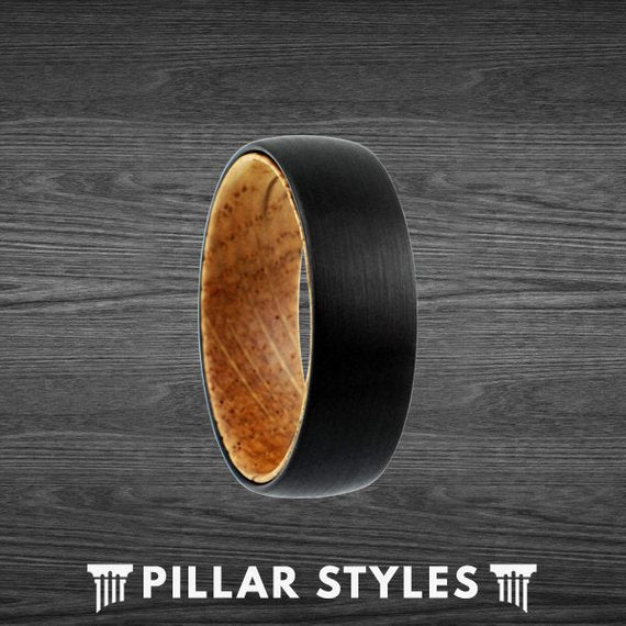 Black Tungsten Wedding Band with Whiskey Barrel Oak Wood Inlay - Pillar Styles