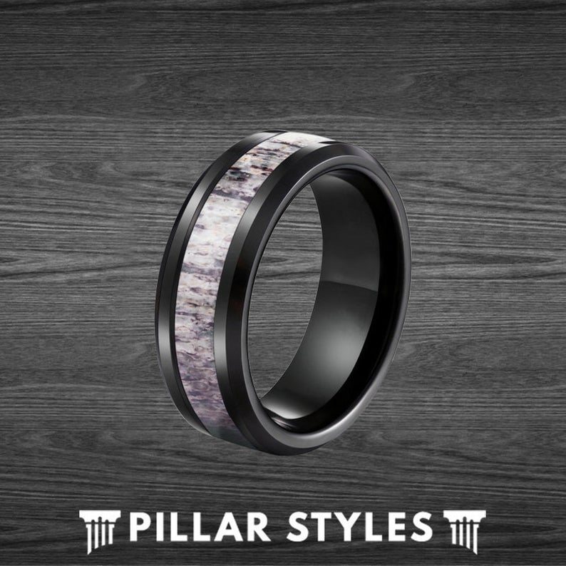 Deer Antler Ring Mens Wedding Band Black Tungsten Ring