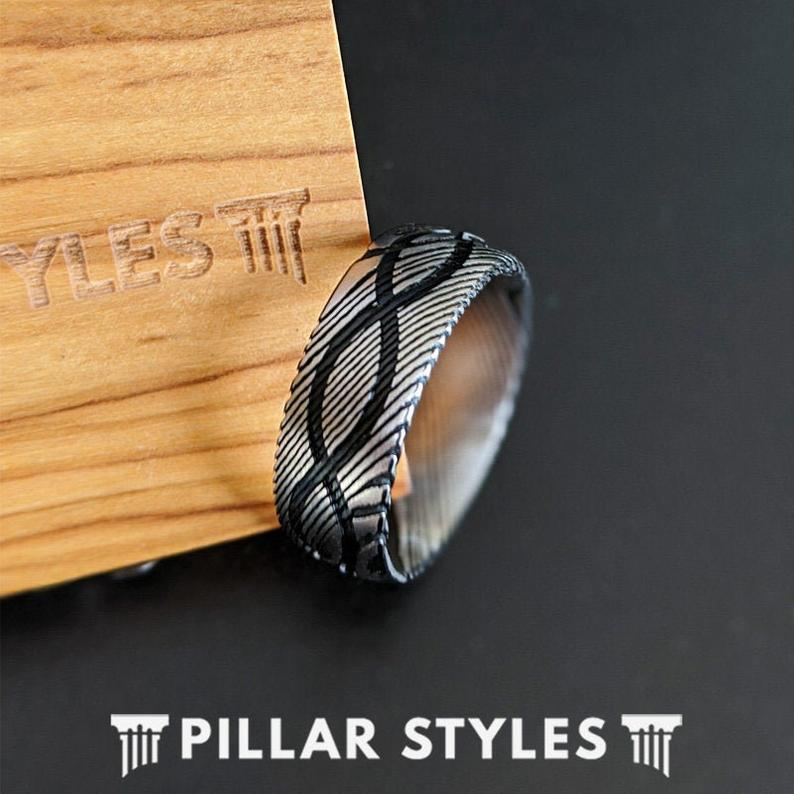 Damascus Steel Ring Silver Mens Wedding Band Infinity Ring 8mm Wood Grain Damascus Ring
