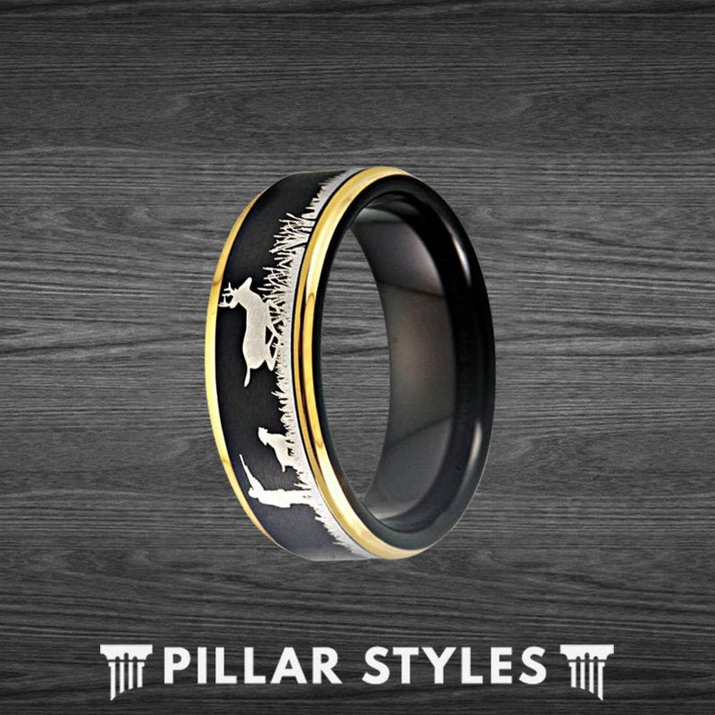 14K Gold Ring Mens Wedding Band Antler Ring - Tungsten Ring for Hunters Black Ring - Pillar Styles