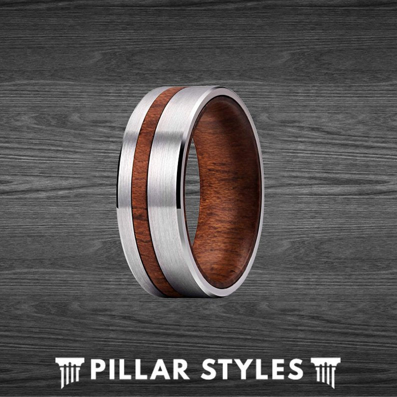 Curly Koa Wood Ring Mens Wedding Band - Silver Tungsten Wooden Ring for Men - Pillar Styles
